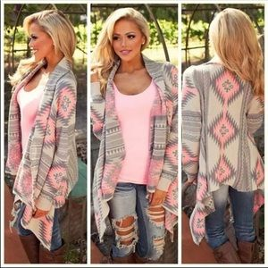 Sweaters - Women's pink Aztec tribal cardigan sweater